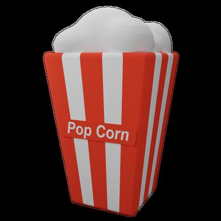 White Pop Corn 3D Illustration