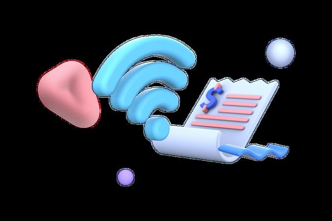 Wifi Bill payment 3D Illustration