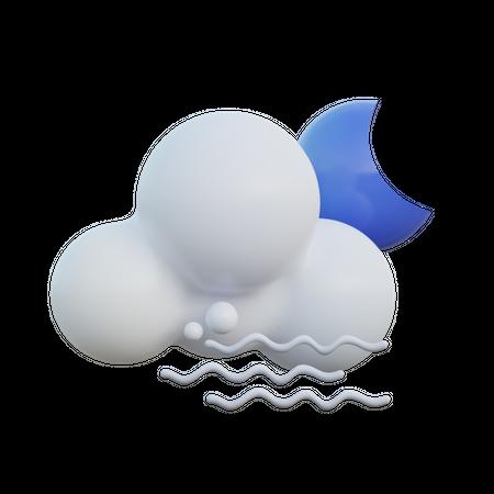 Windy Cloudy Night 3D Illustration