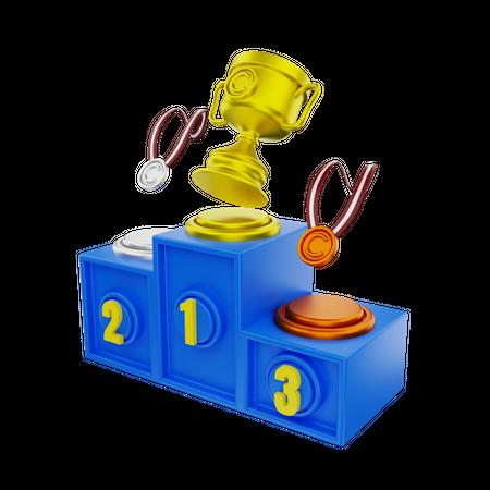 Winner Podium 3D Illustration