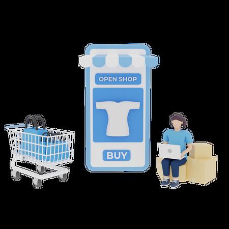 Woman doing online shopping 3D Illustration