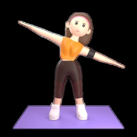 Woman doing yoga 3D Illustration
