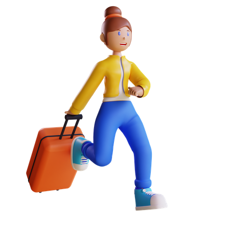 Woman going on vacation 3D Illustration