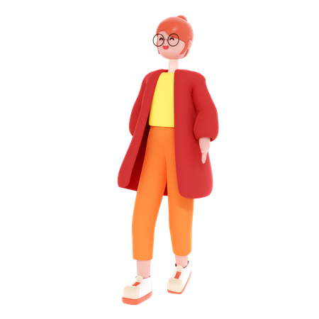 Woman Standing with putting her hands on pocket 3D Illustration