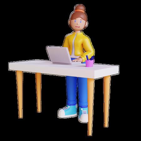 Woman Working at Desk 3D Illustration