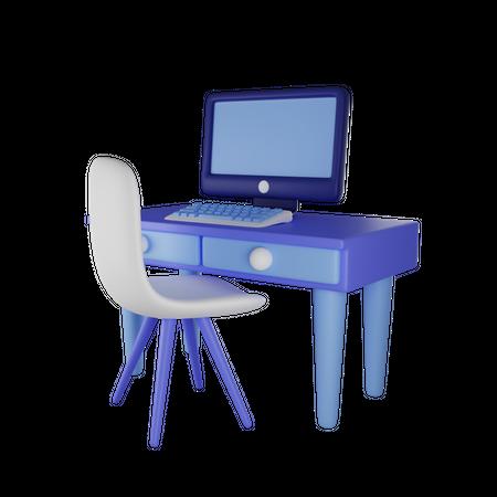 Working Desk 3D Illustration