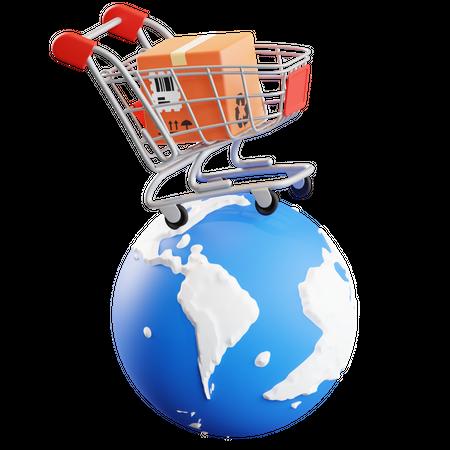 Worldwide Shopping 3D Illustration
