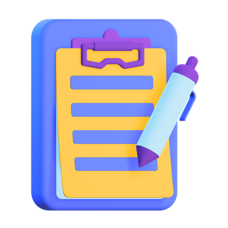 Writing Notes 3D Illustration