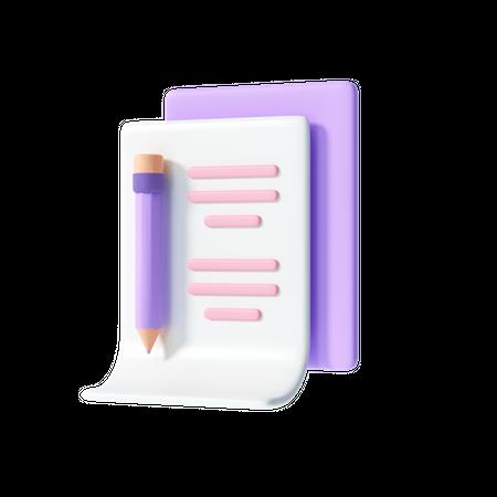 Writing Paper 3D Illustration