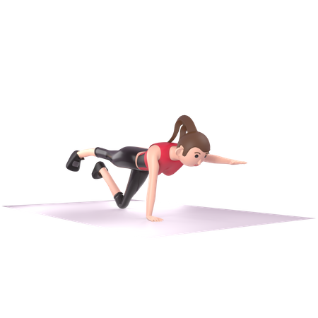 Yoga trainer doing yoga 3D Illustration