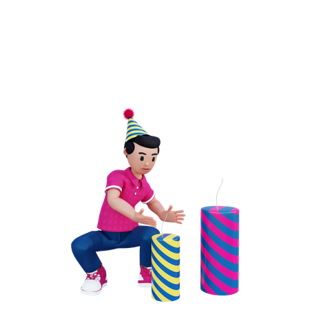 Young boy ignite firecrackers 3D Illustration