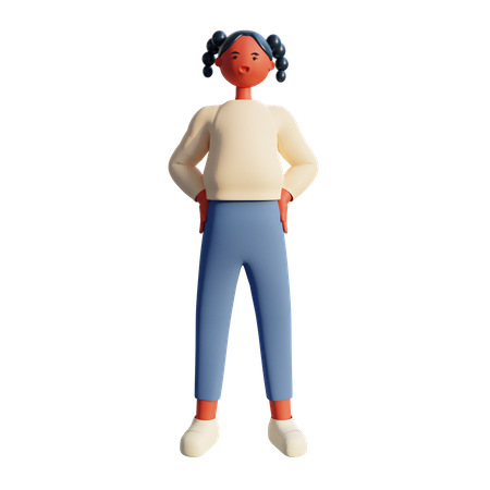 Young Girl 3d Character Design Standing 3D Illustration