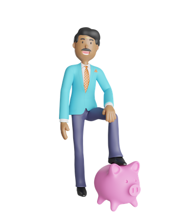 Young south Indian businessman with piggy bank 3D Illustration